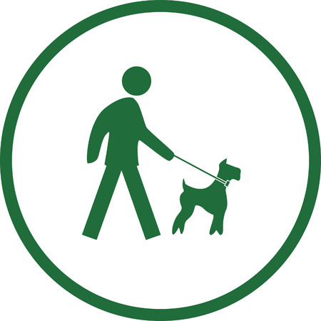 authorise: Dog on leash prohibit sign color vector illustration