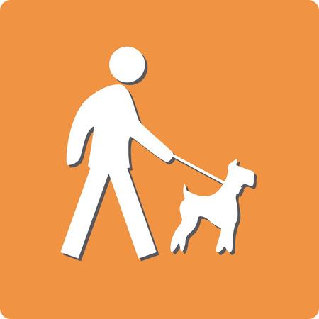 Dog on leash prohibit sign color vector illustration