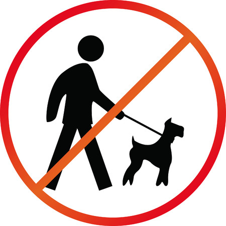 Dog on leash prohibit sign color vector illustration