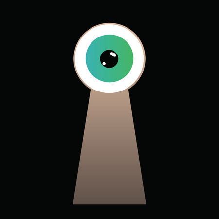 Curios green eye looking through keyhole vector illustration Stock Photo