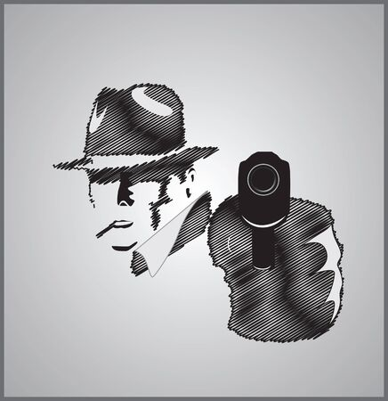 gunfire: Gangster in shadow with gun vector illustration scribble
