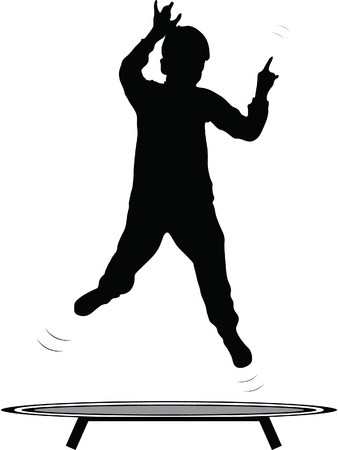 boy jumping trampoline vector silhouette