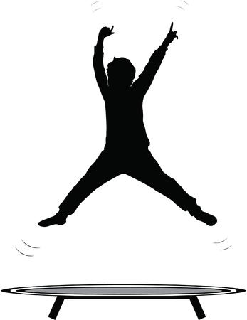 Ragazzo che salta trampolino silhouette isolato su bianco