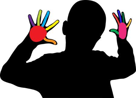 Boy showing ten different color fingers