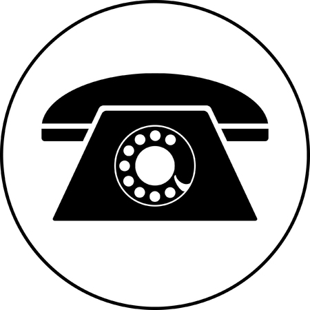 old phone: Illustration of a rotary phone, black Illustration