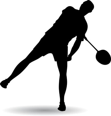 smash: Young man playing badminton Illustration