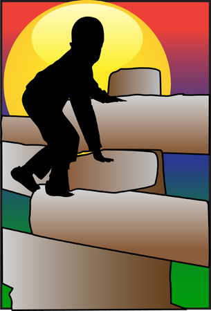 Boy climbing the beams Illustration