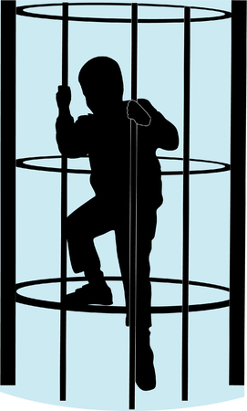 Boy climb a monkey bar vector illustration