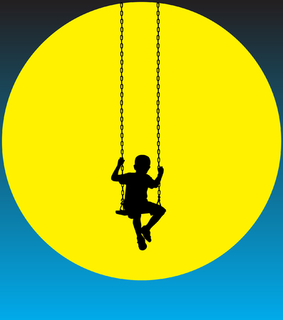 Boy on a swing at moon. Illustration