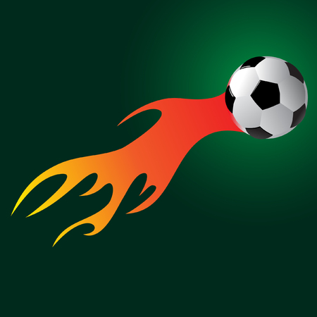 Soccer ball with flame Vector illustration.