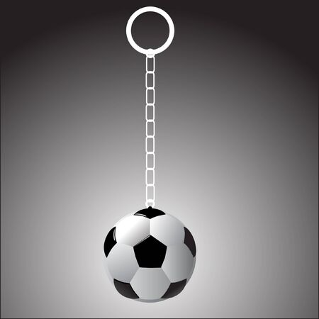 Realistic soccer ball on a fob over grey background.