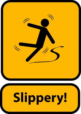 Slippery warning yellow sign