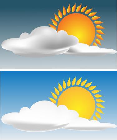 Sun with cloud on the sky.