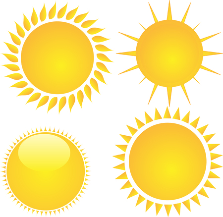 Isolated sun icons collection. Vettoriali