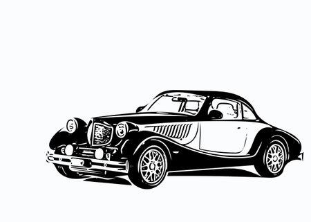 Old car bodysuit black and white illustration. Stock Photo