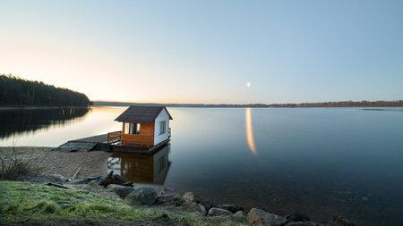 Wonderful spring morning by Kaunas lagoon.