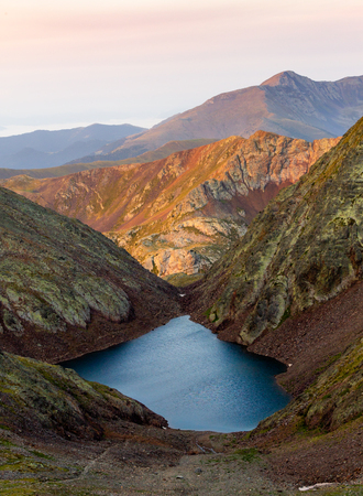 A lake in the Mountains at Sunrise. Stok Fotoğraf