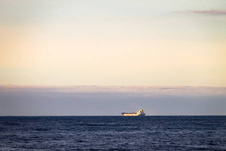 A cargo ship is seen at a distance in the ocean at the horizon line.