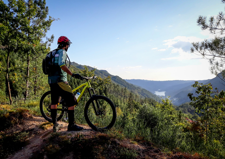 A mountain biker with a yellow mountain bike contemplates the landscape.