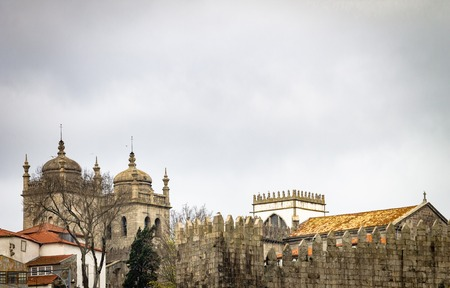 Porto Cathedral and surrounding areas on a cloudy morning. Copy Space.