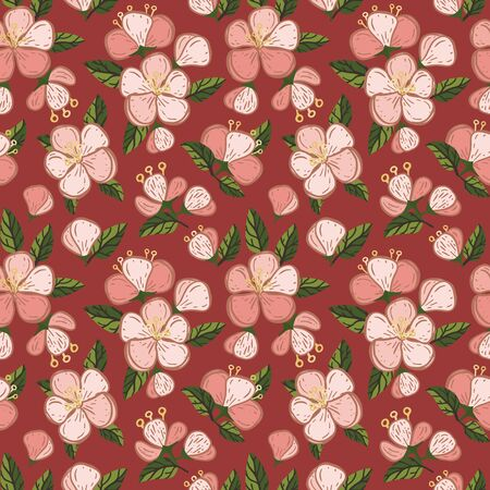 Vector dark red quince fruit blossom seamless pattern print background. Perfect for textile, book covers, wallpapers, design, graphic art, printing, hobby, invitation, scrapbooking. Hand drawn.