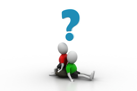 3d people sitting with question mark isolated over white  photo