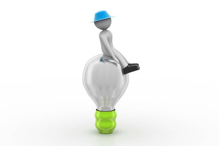 3d small person sitting on a light bulb photo