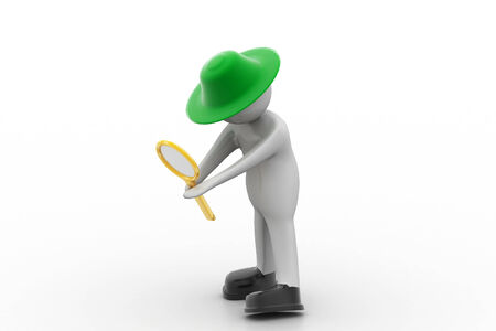 3d man standing and holding magnifying glass photo