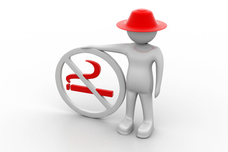 3d man with no smoking symbol photo