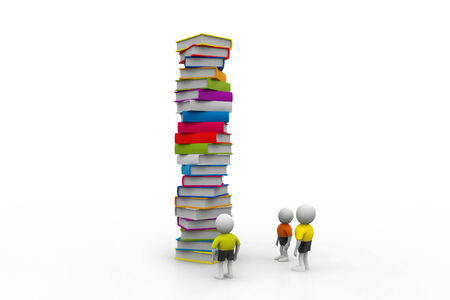 3d people and book, education concept photo