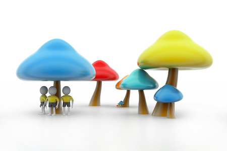 pores: 3d people under the mushrooms Stock Photo