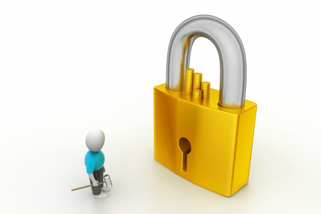3D man holding a   key and padlock photo