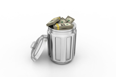 Currency note in trash bin Stock Photo