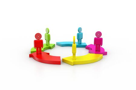 3d people standing on the colourful arrows photo