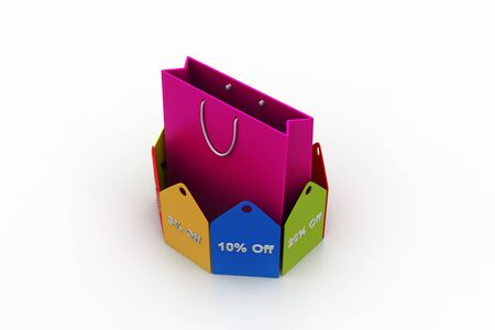 Shopping bag with discount tags photo