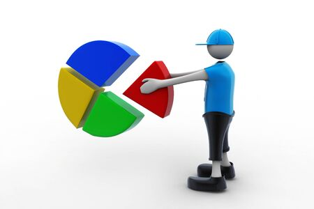 3d man with pie chart photo