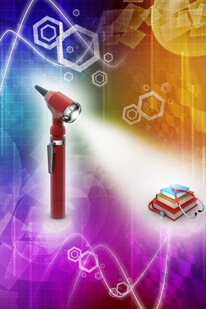otoscope: Otoscope and medical text books