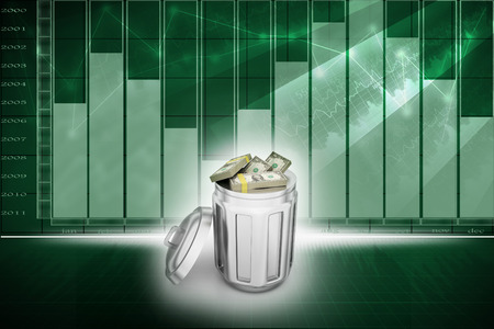 eliminate waste: Currency note in trash bin Stock Photo