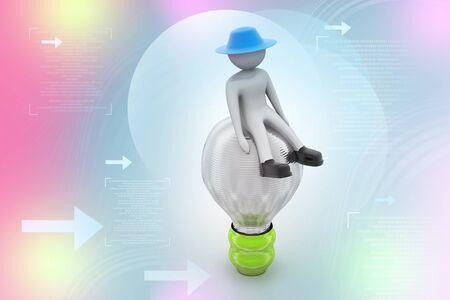 person sitzend: 3D kleine Person sitzt auf einer Gl�hbirne