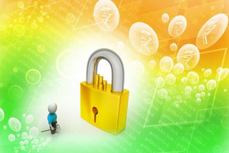 limitations: 3D man holding a   key and padlock Stock Photo