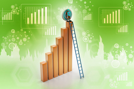 business bar graph with wood ladder isolated over white background photo