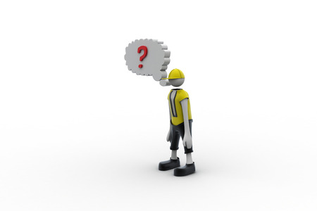 3d man with red question mark photo