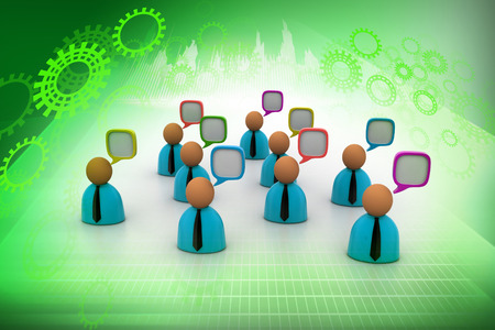 3d business people icon with speech bubbles photo