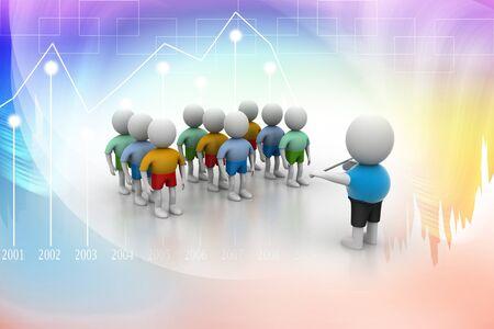 guidelines: Leader speaking to audience  3d rendered illustration