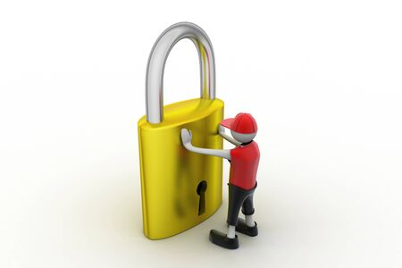 3D man holding a   padlock photo
