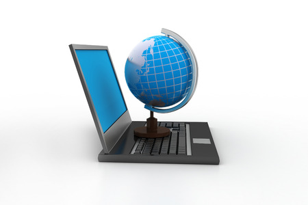 portability: laptop computer with earth globe