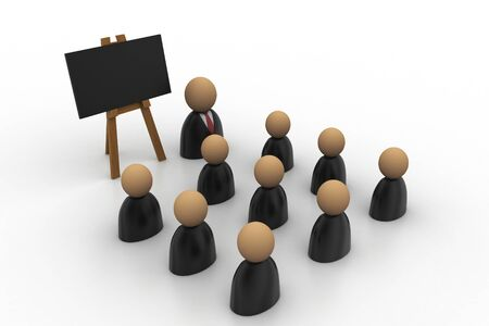 Icon of peoples in business suit and blackboard photo