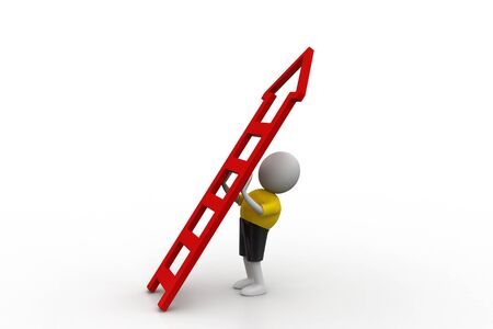 clamber: 3d man with ladder Stock Photo