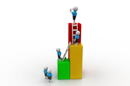 Success concept, 3d people climb on top of business growth graph photo