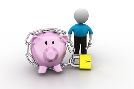 Piggy bank locked with chain and padlock photo